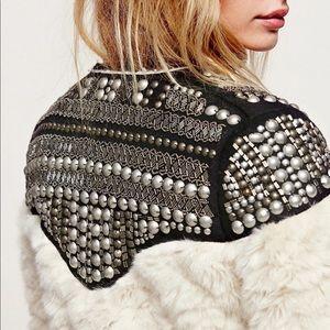 Lux Faux Fur Hand-Beaded Stud Embellished Jacket